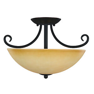 Oil Rubbed Bronze Semi-Flush Mount Ceiling Light Fixture #164177