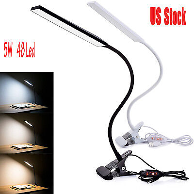 5W USB Clip-On Desk Lamp 48 LEDS Flexible Reading light Dimmable Table Lamps