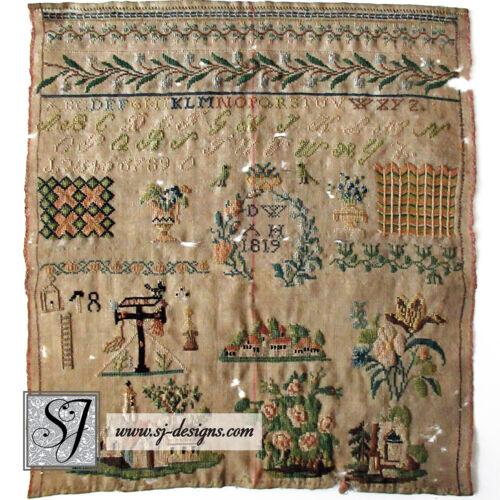 "1819 ""DW"" German spot sampler silk thread religious motifs borders alphabets"