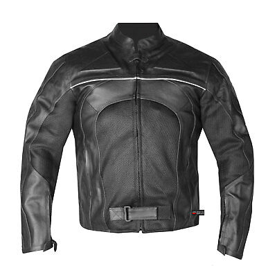 New Men's Razer Motorcycle Biker Armor Mesh & Leather Black