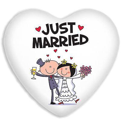 Just Married Boda Regalos Seda Artificial Forma de Corazón Sofá Cojín