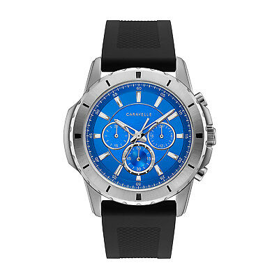 Caravelle Men's 43A146 Quartz Chronograph Blue Dial Silicone Strap 44mm Watch