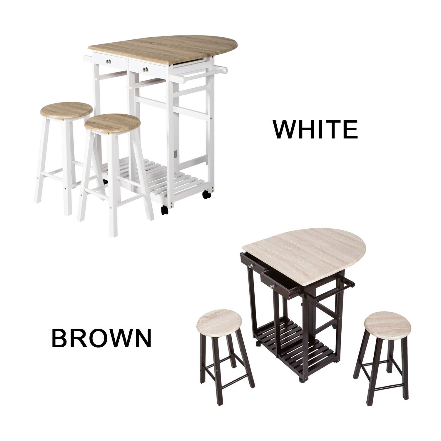 3 PC Wood Dining Set Drop Leaf Table W/Double Stool Kitchen