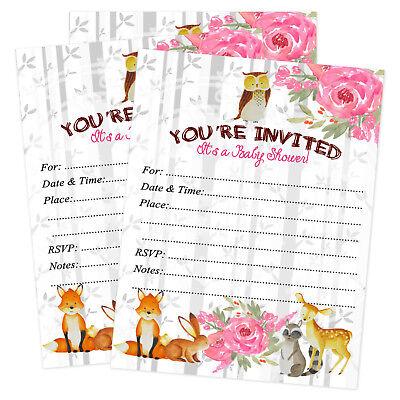 25 Girl Baby Shower Woodland Invitations Invites Owl Forest Winter Invitation](Woodland Invitations)