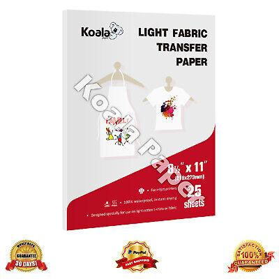 Koala 25 Sheets 8.5x11 Light Fabrics Cotton Heat Transfer Paper T-shirt Iron On