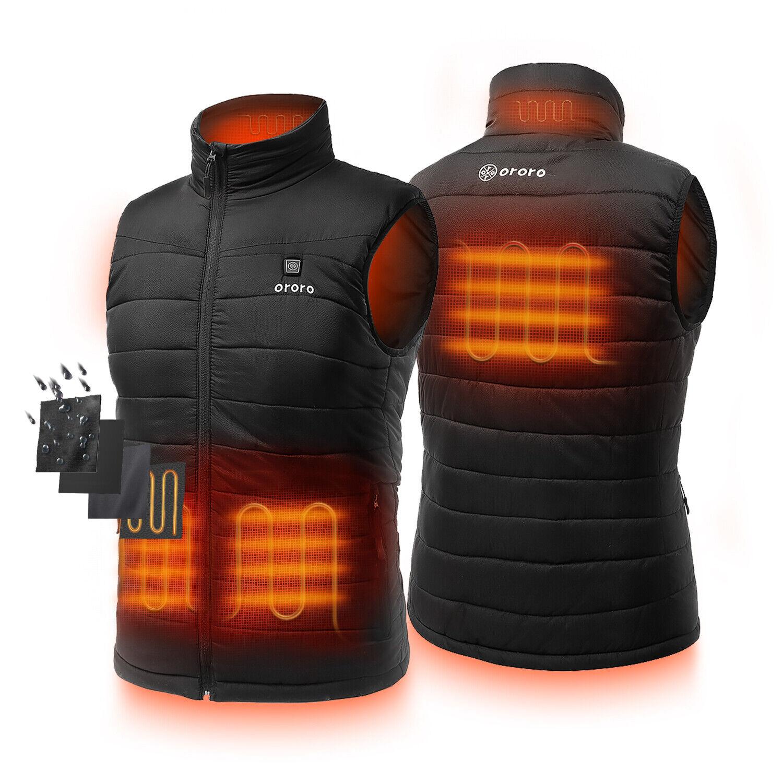 ORORO Men Windbreaker Heated Vest Water Resistant Quilted Sl