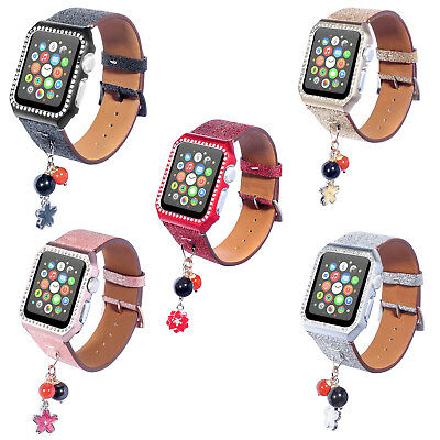 (Women's Bling Rhinestone Band Strap Case Cover for Apple Watch iWatch 38/42mm)