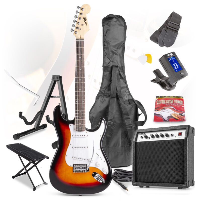 Sunburst Full Size Electric Guitar Kit, Amplifier Stand & Beginners Accessories