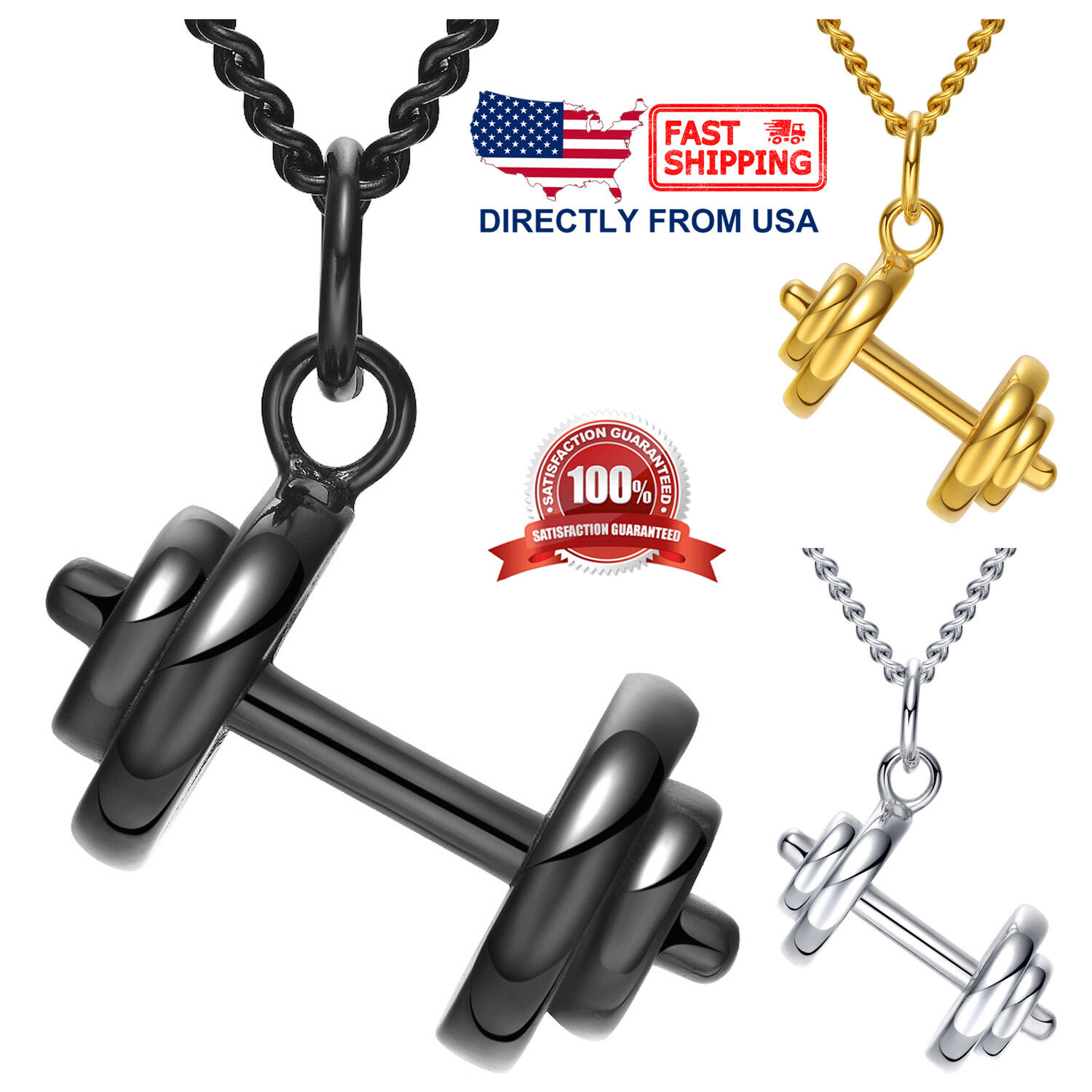 Men's Stainless Steel Weight Lifting Barbell Pendant Necklace Chains, Necklaces & Pendants