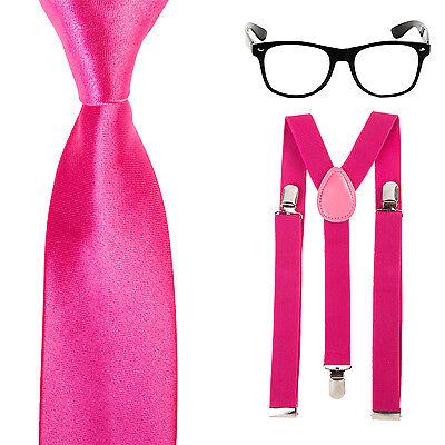 Geek Nerd Tie Fancy Dress Costume - Glasses + Slim Neck Tie + Braces - Hot Pink