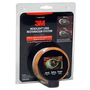 3M Headlight Lens Restoration System Restorer Kit 39008, buffing polish plastic