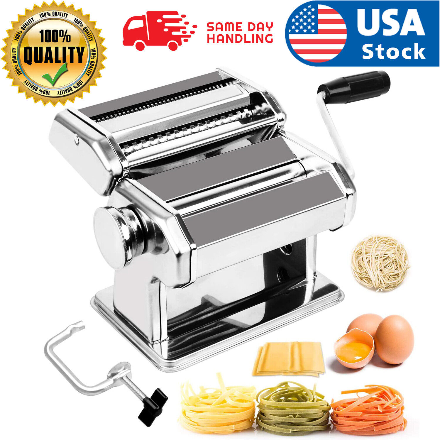 Stainless Steel Fresh Pasta Maker Roller Machine for Spaghetti Noodle Fettuccine Electric Pasta Makers