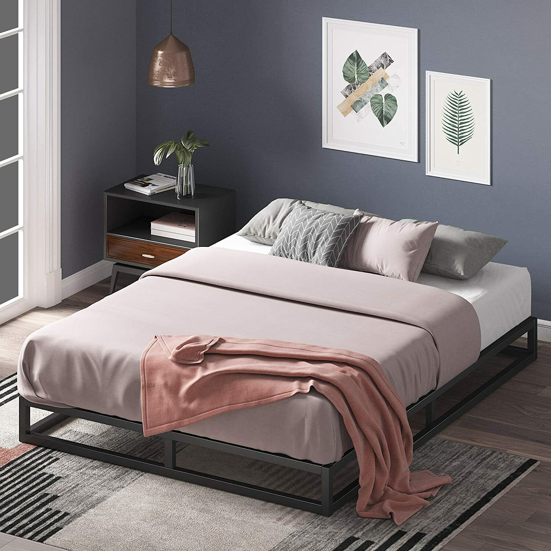 Queen Bed Frame 6 Inch Platform Low Profile Box Spring Metal