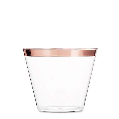 99 Rose Gold Plastic Cups ~ 9 Oz Clear Plastic Cups Old Fashioned Tumblers  (Clear Pink Plastic Cups)