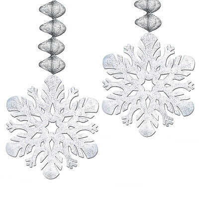 SNOWFLAKE Danglers Silver Foil FROZEN Winter Christmas Birthday Party Decoration](Winter Birthday Decorations)