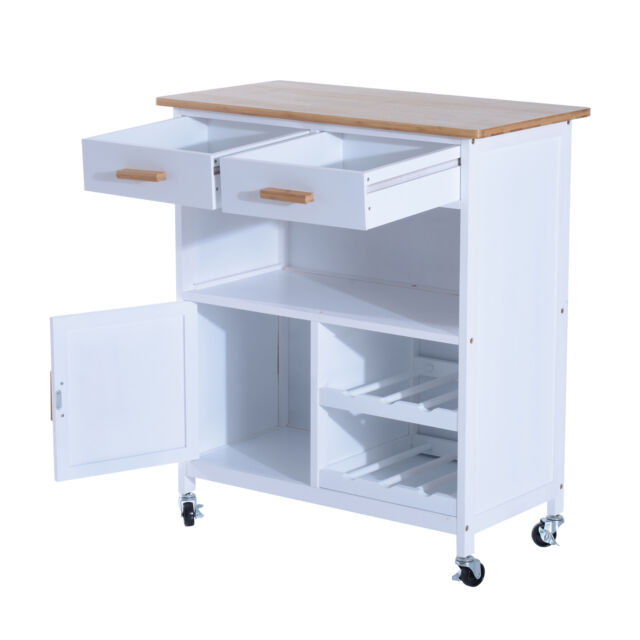 White Kitchen Trolley homcom wood mdf kitchen trolley dining cart drawer storage rolling