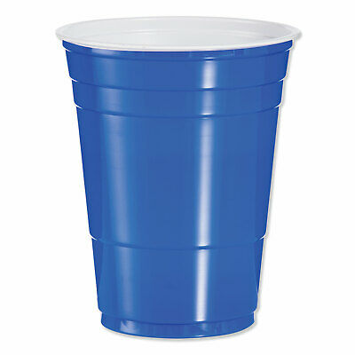 Solo® Plastic Party Cups, 16 Oz, Blue, Box Of 50 Cups