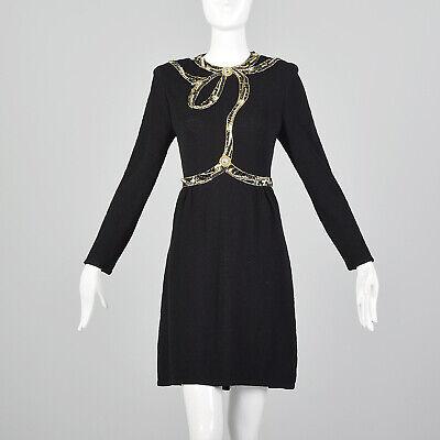 80s Dresses | Casual to Party Dresses M Pat Sandler Black Sweater Dress Beaded Long Sleeves Little Black Dress 80s VTG $153.00 AT vintagedancer.com