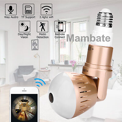 360° Panoramic HD 1080P Hidden wifi Camera Light Bulb Security IP Spy Camera