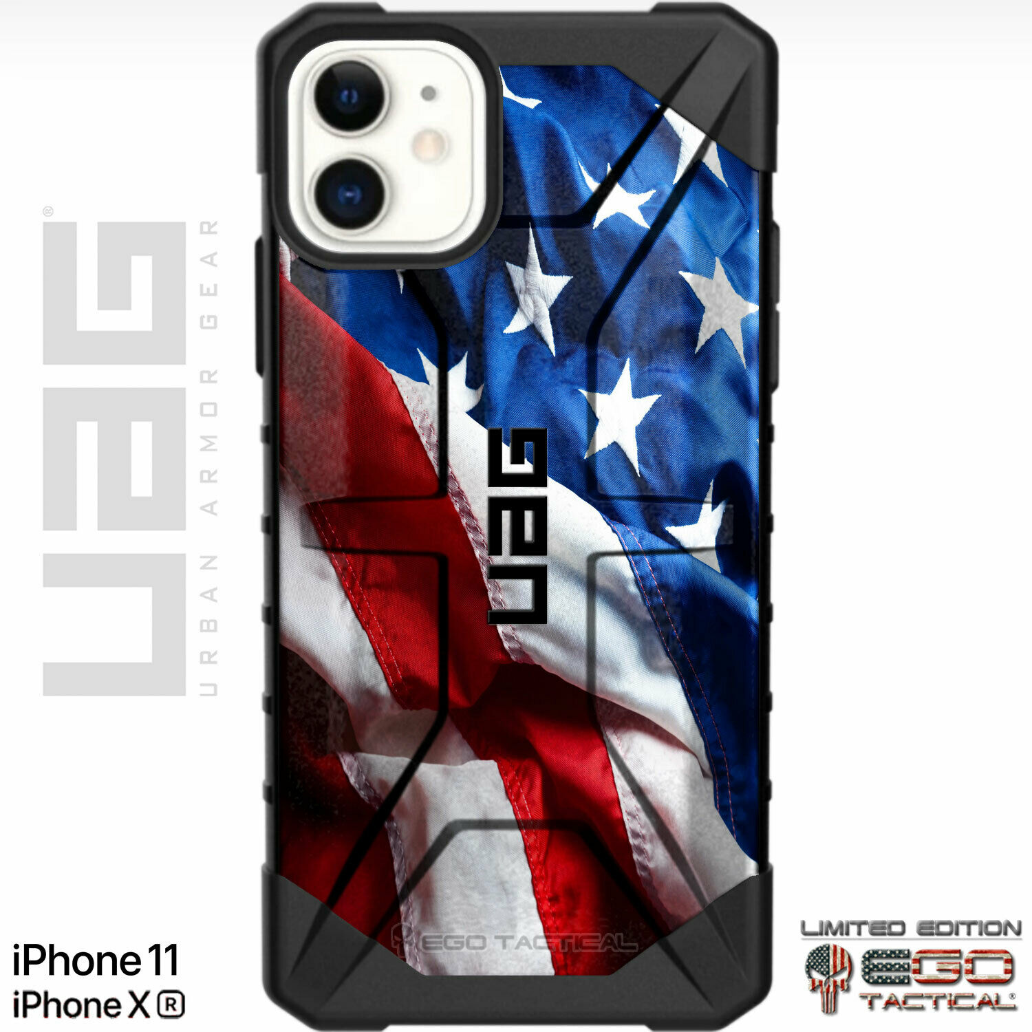 Constitution Bullets Customized Designs by Ego Tactical Over a UAG- Urban Armor Gear Case for Apple iPhone X//Xs Flag - We The People Limited Edition 5.8