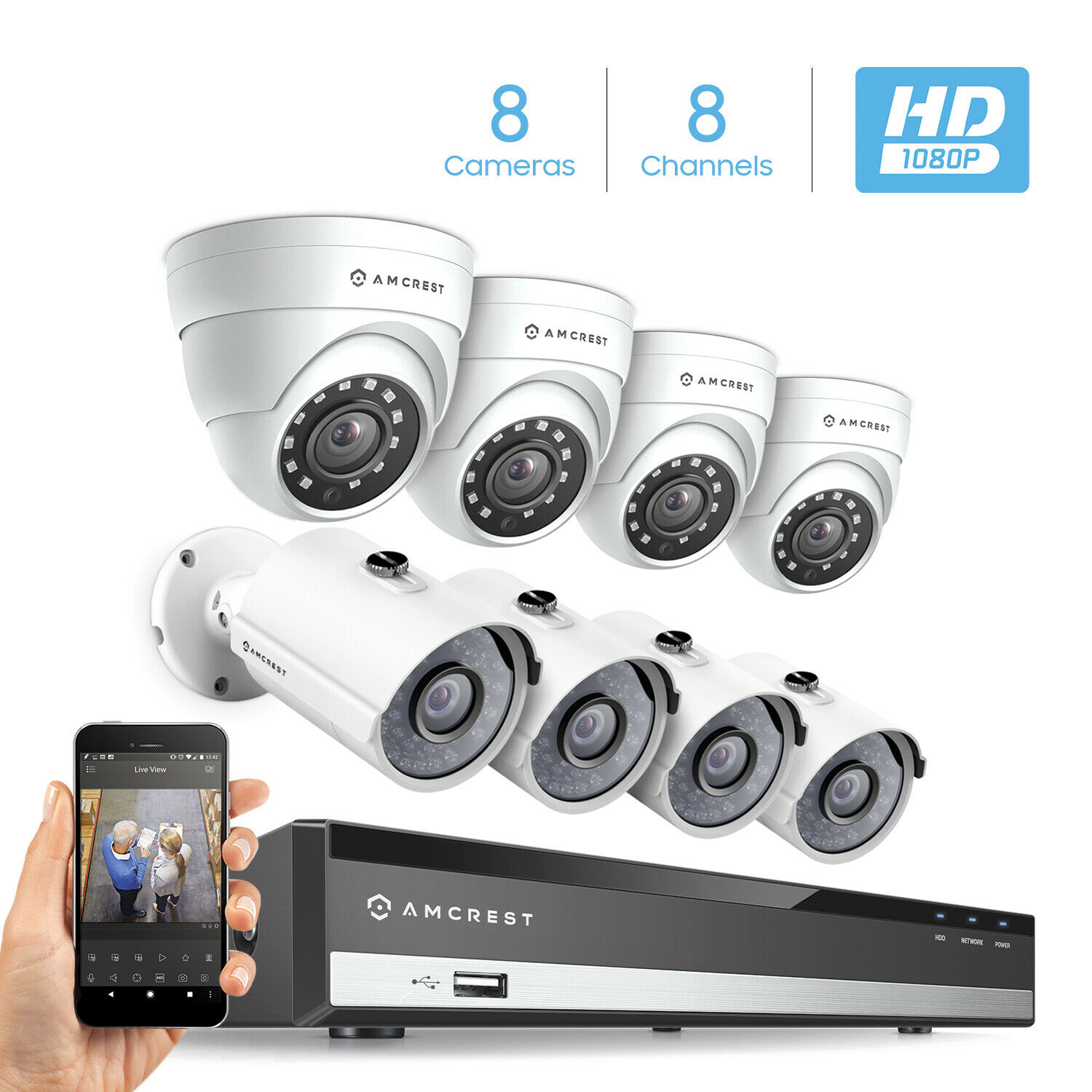 Amcrest 8Ch 1080P HDCVI/IP DVR Kit w/ 4 Bullet & 4 Dome & 2T