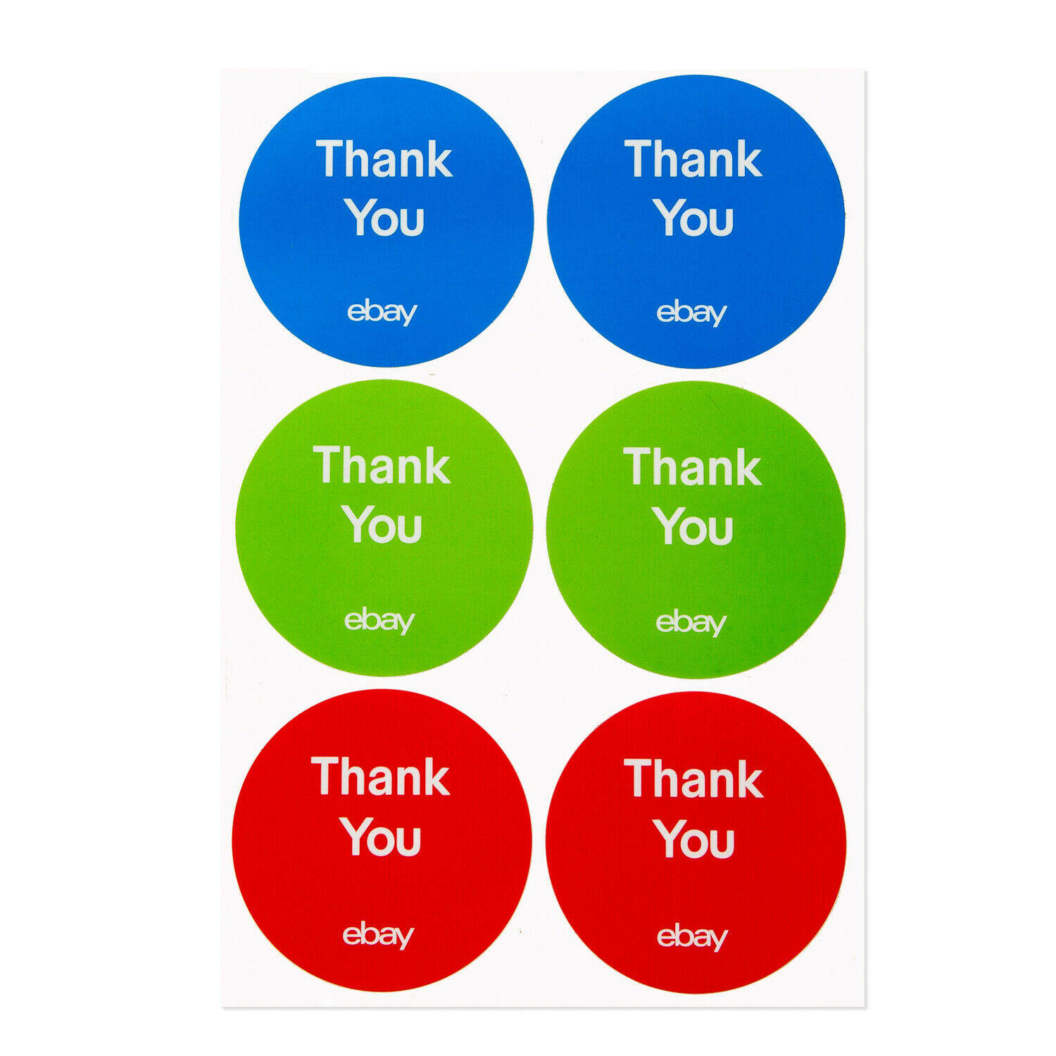 3 Thank You Stickers Red Blue And Green Ebay
