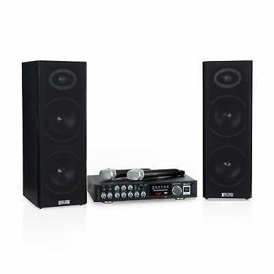 Equipo de karaoke Altavoces Bluetooth Profesional USB 2 Micrófonos 2x80 W
