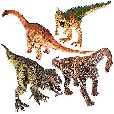 """13"""" Realistic Looking Dinosaurs Pack of 4 Jumbo Plastic Assorted Dinosaur Figure"""