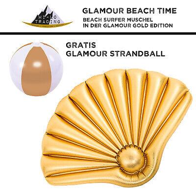 hi-lo Aufblasbare Muschel Gold Floater 90x62x8cm gross - Gratis Wasserball