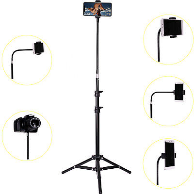 Phone Floor Stand Tall Tripod Phone Stand Retractable Adjustable With Gooseneck