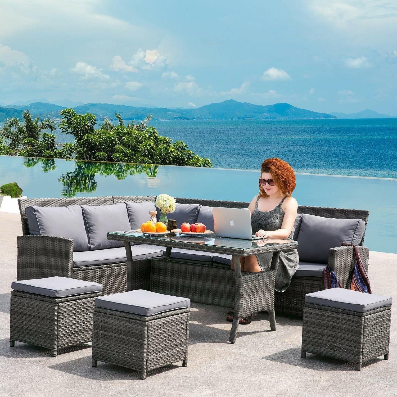 Garden Furniture - 9 SEATER RATTAN CORNER GARDEN FURNITURE SET SOFA TABLE STOOL PATIO CONSERVATORY