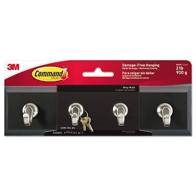 - Command Decorative Key Rail 8w x 1 1/2d x 2 1/8h Black/Silver 4 Hooks/Pack