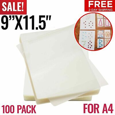 100 Pack Laminating Pouches Thermal Laminating Sheets Film A4 Letter Size