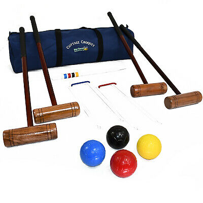 Garden Croquet Set In A Bag Hardwood Mallets And Lightweight Balls- Cottage Set  - Garden In A Bag