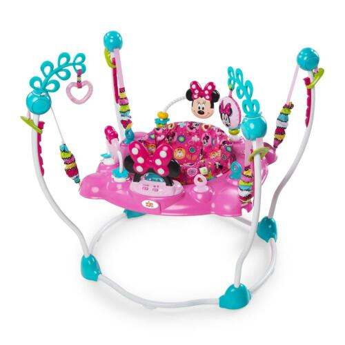 Baby Jumper Activity Center Bouncer Infant Toys Minnie Mouse Pink Lights Music