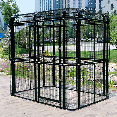 XXL Heavy Duty Walk in Aviary Bird Cage Parrot Pet Poultry House Outdoor Black