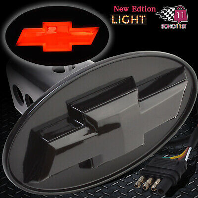 Chevy Hitch Cover Licensed LED Light Trailer Tow Receiver Silverado Trucks