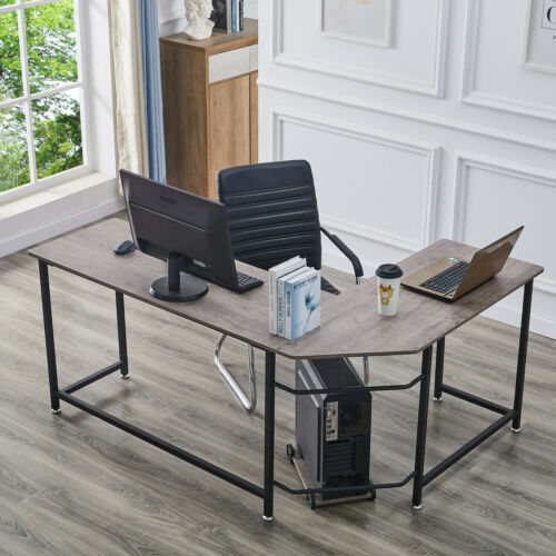L-förmiger Computertisch Eckschreibtisch mit CUP Stand Home Office Workstation