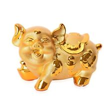 Gold Ceramic Jumbo Cute Cartoon Pig Shape Coin Piggy Bank