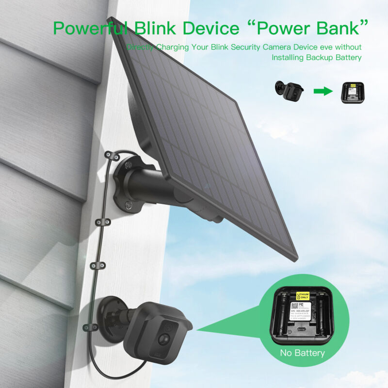 Solar Power Panel Blink XT Wall Mount Outdoor Security Camera Weatherproof USA