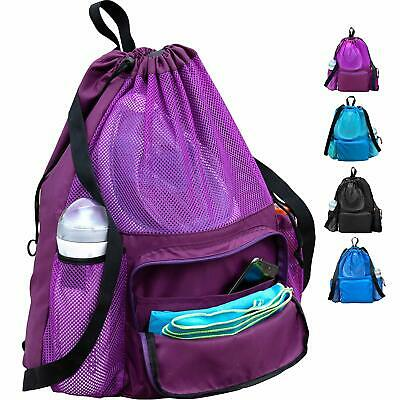 Large Swimming Equipment Mesh Bag, Gym Backpack, Separated Waterproof Dry (Swim Equipment)