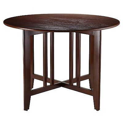 Round Mission Table 42in Drop Leaf Kitchen Dining Room Wood Furniture Brown New