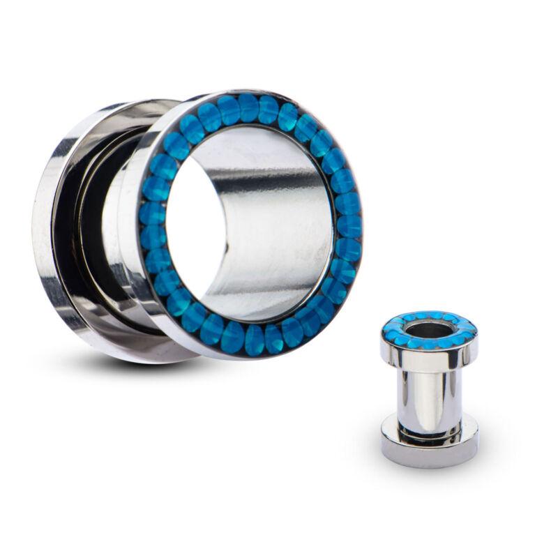 """PAIR-Opalite Blue Pacific Gems Steel Screw On Ear Tunnels 11mm/7/16"""" Gauge Body"""