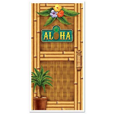 LUAU Tiki Tropical Hawaiian Party ALOHA Bamboo Print DOOR Wall COVER 30in x 5ft Door Decoration Luau