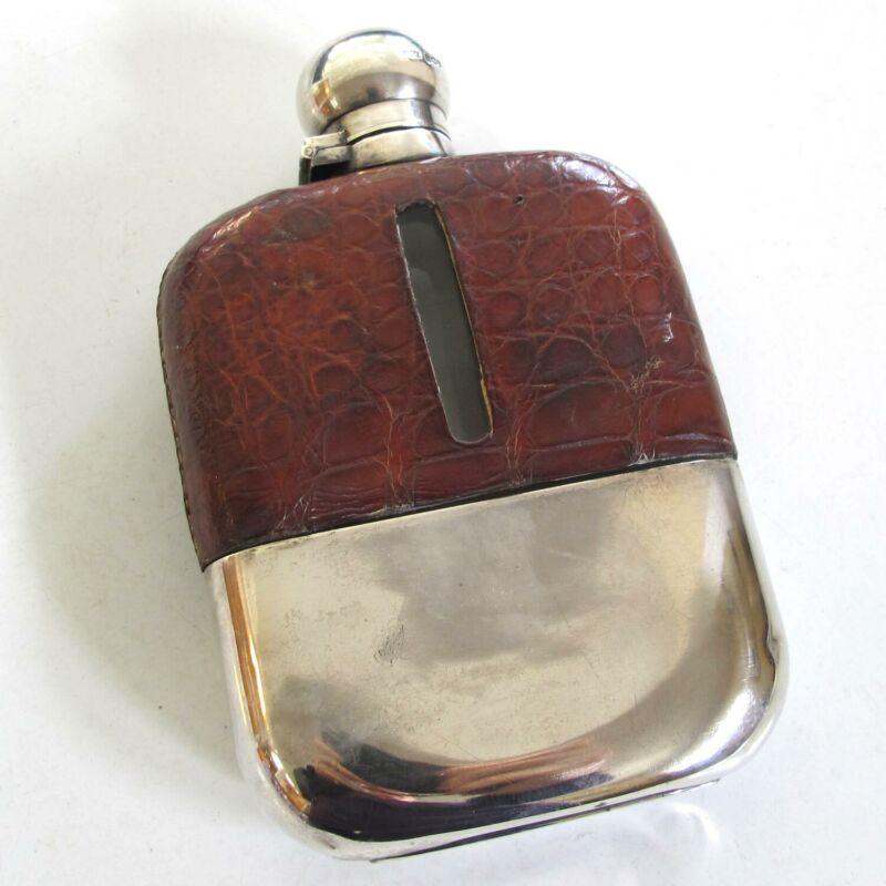 Sterling Silver & Leather ENGLISH FLASK 1894 Sheffield Hallmark Royal Supplier