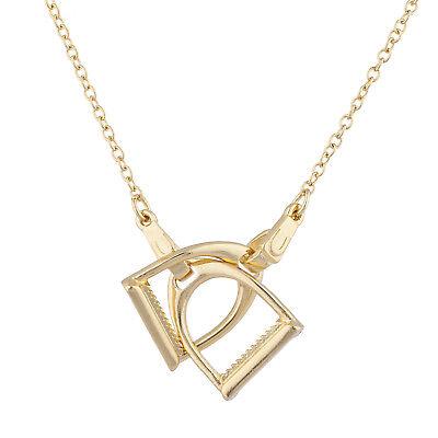 Lux Accessories Gold Tone Horse Shoe Stirrups Interlocking Pendant Necklace