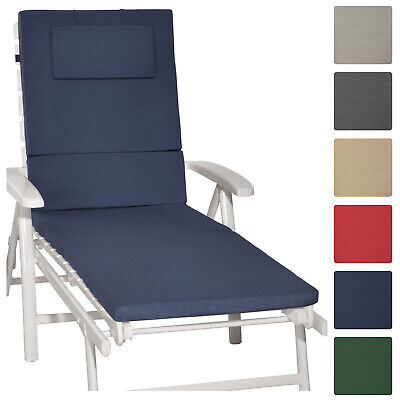 Sunlounger Cushion 200x60x5cm Garden UV Resistant Steamer Recliner Pad Dark Blue