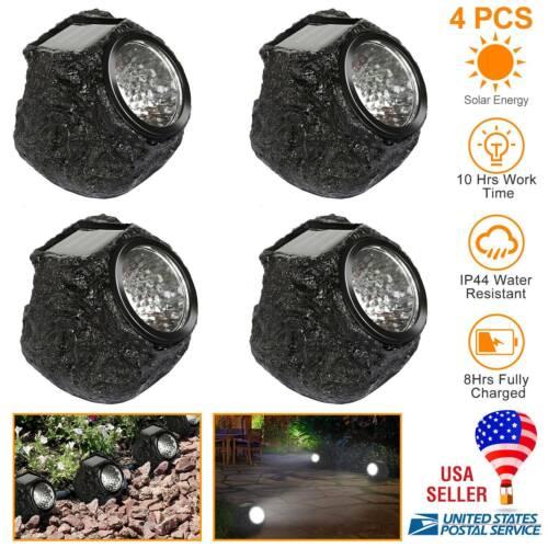 4xLED Rock Lights Solar Power Stone Spot Light Garden Spotli