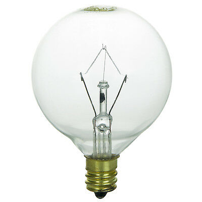5 Pack 60 Watt G16.5 Clear Decorative Globe Candelabra Base Light Bulbs 130V Clear Decorative Globe Bulbs