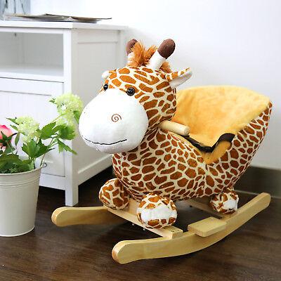 Rocking Horse Kids Ride On Toy Plush Giraffe Baby Boy Riding Rocker Play Sound - Rocker Child